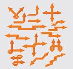 橙色纸质箭头