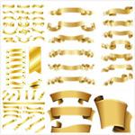 金色飘带设计矢量