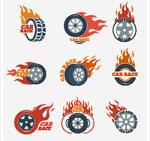 火焰车轮潮流图案