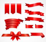红色丝带装饰元素