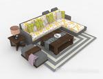 多人沙发3d模型