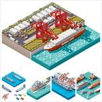 3D立体货船码头