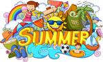 多彩的夏天插画