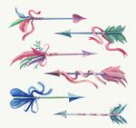 水彩绘羽毛箭