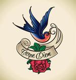 鲜花小鸟纹身插画