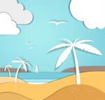 沙滩椰子树剪贴画