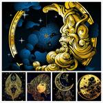月亮插画创意矢量