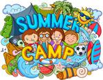 夏日野营涂鸦插画