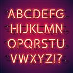霓虹灯字母和符号