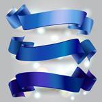 蓝色丝带矢量图