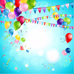 彩色气球与拉旗