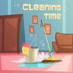 家庭清扫卫生插画