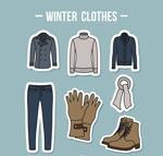 手绘冬季衣服装