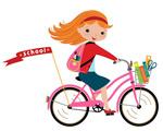 骑自行车的女学生