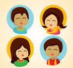 卡通印度儿童头像