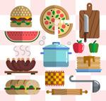 扁平化食物和厨具