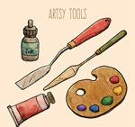 彩绘绘画工具矢量