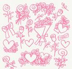 花卉和爱心矢量