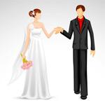 手牵手的新郎新娘