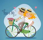 骑单车的情侣