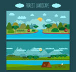 树林与瀑布风景