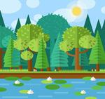 荷花池风景矢量