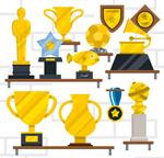 奖杯与奖牌矢量