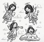 手绘长发天使