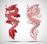 中国龙剪纸矢量