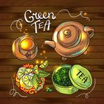 美味绿茶插画