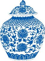 青花瓷罐矢量素材