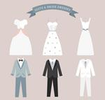 婚纱和西服矢量