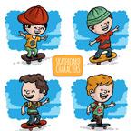 彩绘儿童玩滑板