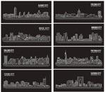 线条城市矢量