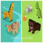 几何立体卡通动物