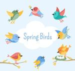 卡通春季小鸟