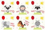卡通生日动物