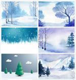 冬季雪景插画
