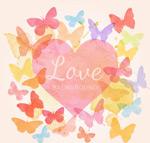 水彩蝴蝶和爱心