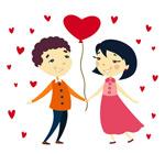 卡通情侣与气球