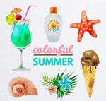 水彩手绘夏季元素