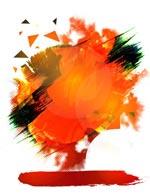 橙色水墨背景图