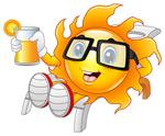 卡通喝饮料太阳