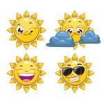 卡通笑脸太阳矢量