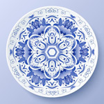 蓝色花朵圆盘