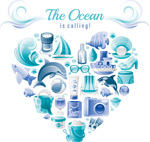 海洋度假元素爱心