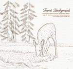 手绘食草的鹿
