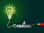 创意思维灯泡铅笔