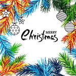 圣诞节松枝和挂饰
