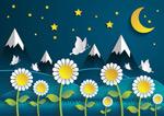 菊花和雪山剪贴画